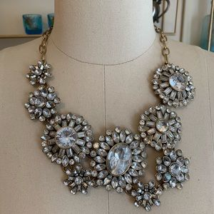 J.Crew Large Rhinestone / Gold statement necklace